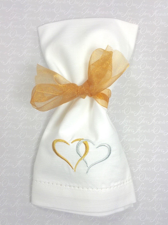 Two Hearts Embroidered Cloth Napkins Anniversary Wedding White