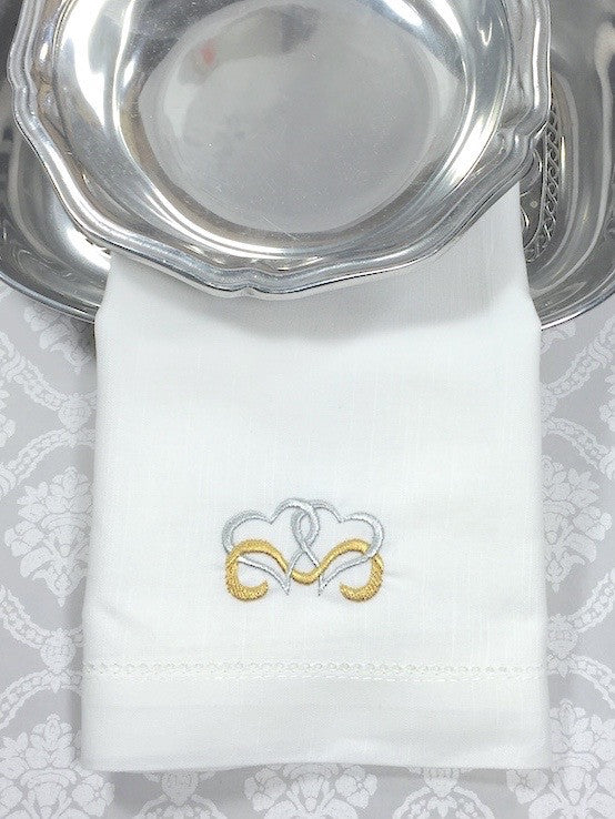 Linked Hearts Embroidered Cloth Napkins - Set of 4 napkins-White Tulip Embroidery