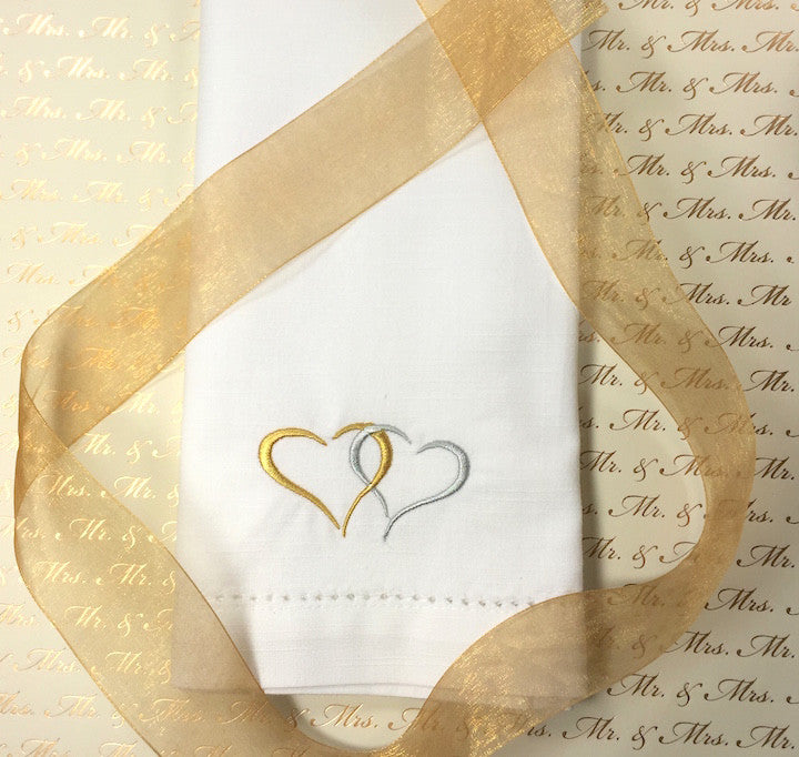 Two Hearts Embroidered Cloth Napkins - Set of 4 napkins-White Tulip Embroidery