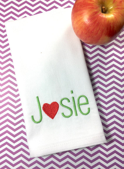 Heart Personalized Child's Lunchbox Napkins - White Tulip Embroidery