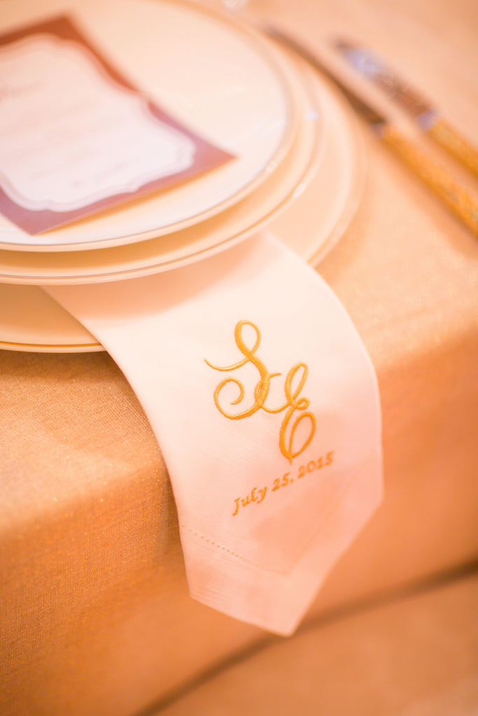 Digitizing Wedding Monogram - Custom Wedding Monogram Cloth Napkins - White Tulip Embroidery