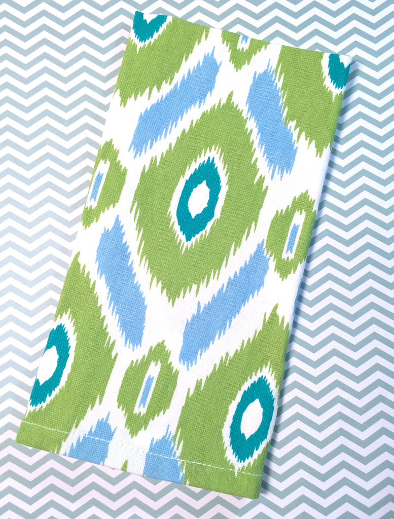 Green and Blue Ikat Cloth Napkins - Set of 4 cotton napkins-White Tulip Embroidery