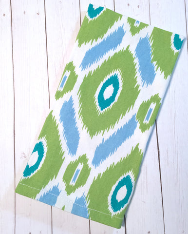 Green and Blue Ikat Cloth Napkins - Set of 4 cotton napkins - White Tulip Embroidery