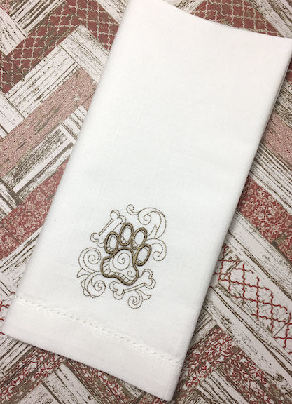 Dog Paw Embroidered Cloth Napkins - White Tulip Embroidery