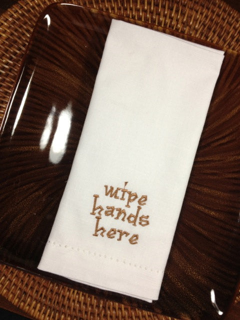 Wipe Hands Here Embroidered Cloth Napkins - Set of 4 napkins-White Tulip Embroidery