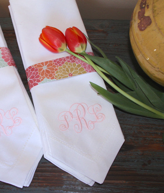 Ella Monogrammed Embroidered Cloth Napkins - Set of 4 napkins - White Tulip Embroidery