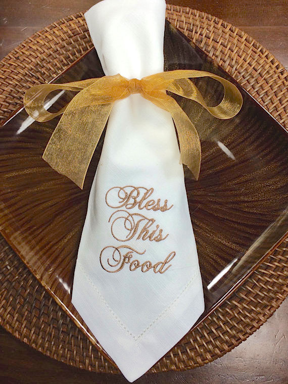 "Thanksgiving ""Bless This Food"" Embroidered Cloth Dinner Napkins - Set of 4 napkins-White Tulip Embroidery"