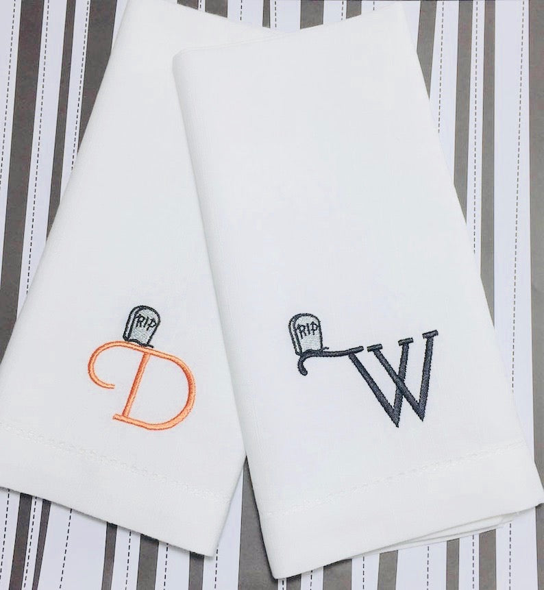 Monogrammed Tombstone Embroidered Cloth Napkins-Set of 4 Halloween napkins - White Tulip Embroidery