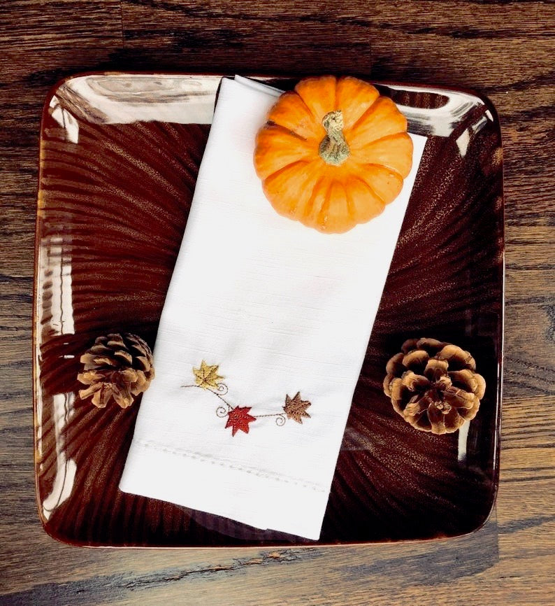 Thanksgiving Blowing Leaves Embroidered Cloth Napkins - Set of 4 napkins-White Tulip Embroidery