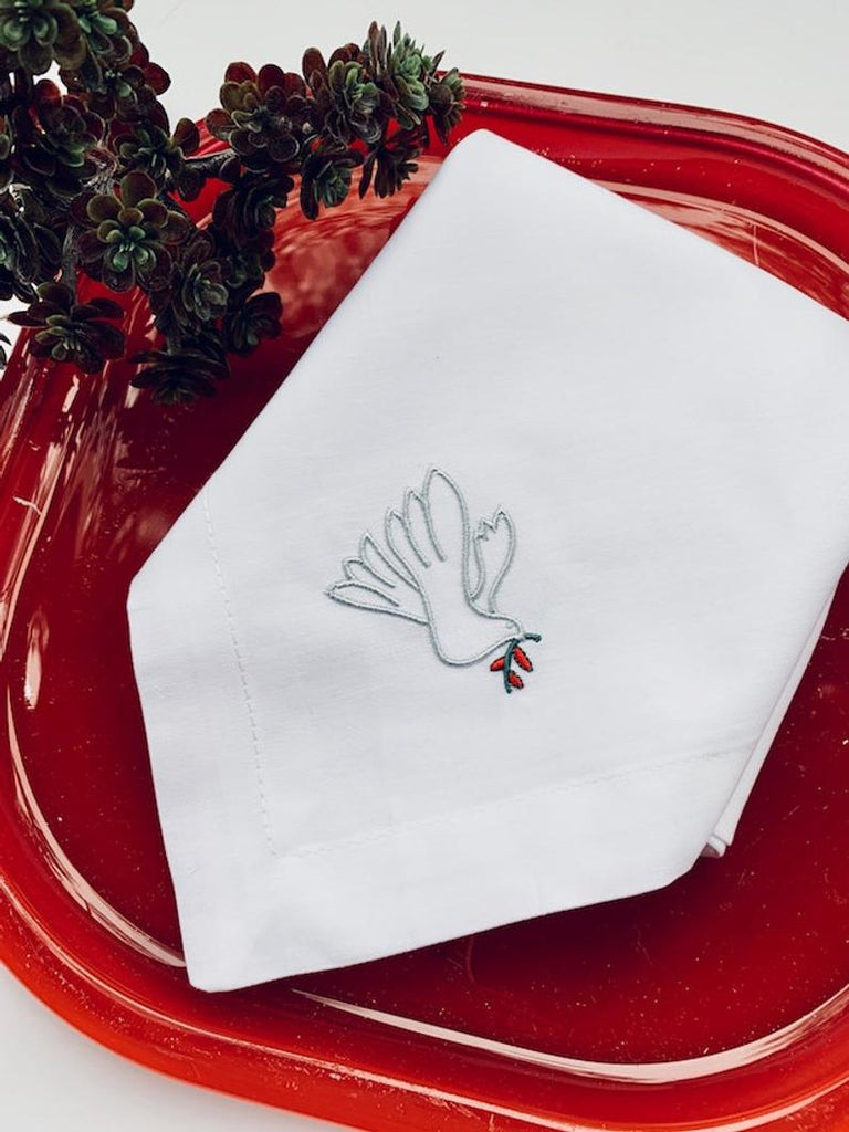 Dove Christmas Cloth Napkins - Set of 4 napkins-White Tulip Embroidery