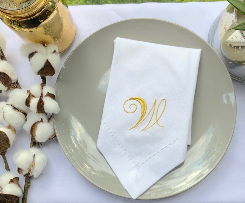 Rosato Monogrammed Cloth Dinner Napkins - Set of 4 napkins - White Tulip Embroidery