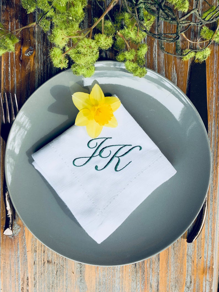 25 Bulk Two Initial Script Monogrammed Cloth Napkins