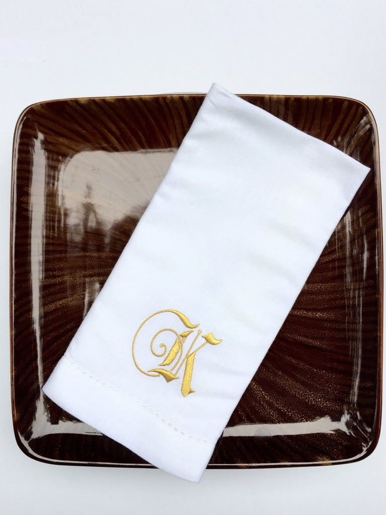Fairytale Monogrammed Cloth Dinner Napkins - Set of 4 napkins - White Tulip Embroidery