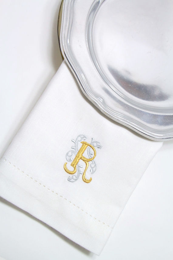 Ornate Monogrammed Embroidered Cloth Napkins - Set of 4 napkins - White Tulip Embroidery