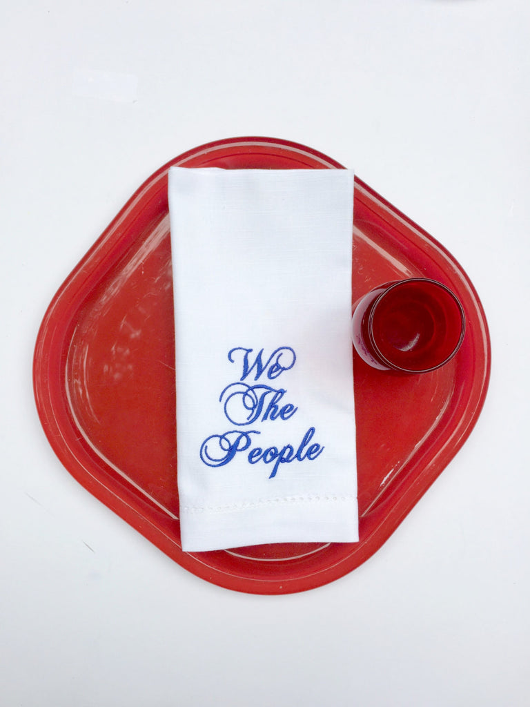 We The People USA Embroidered Cloth Napkins - Set of 4 napkins-White Tulip Embroidery