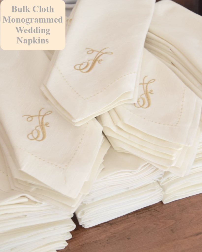Bulk Monogrammed Wedding Napkins, Set of 50, Embroidered Cloth Dinner Napkins - White Tulip Embroidery
