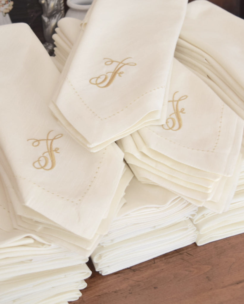 75 Bulk Monogrammed Cloth Napkins-White Tulip Embroidery