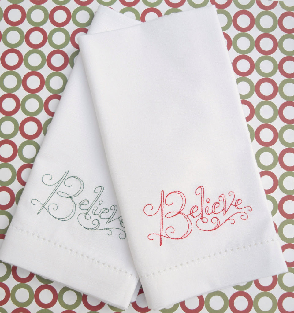 Believe Christmas Cloth Napkins - Set of 4 Christmas napkins - White Tulip Embroidery