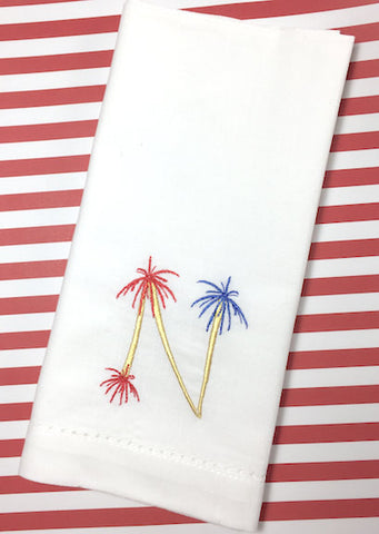 4th of July Fireworks Monogrammed Cloth Napkins - White Tulip Embroidery