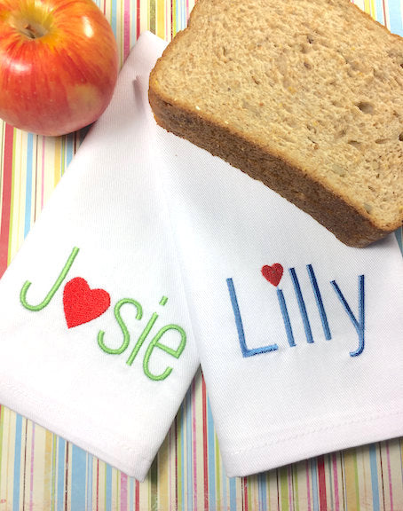 Heart Personalized Child's Lunchbox Cloth Napkins-White Tulip Embroidery