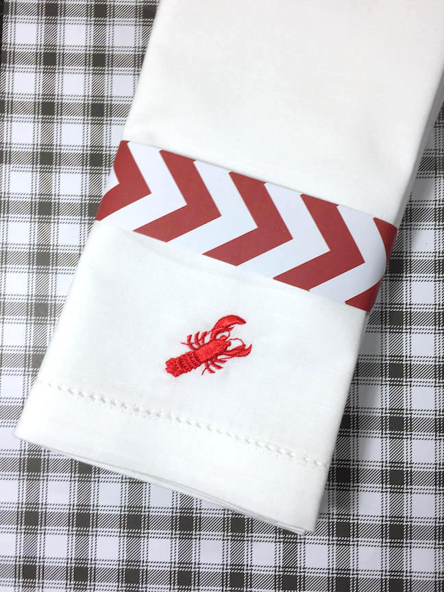 Lobster Embroidered Cloth Napkins - Set of 4 napkins-White Tulip Embroidery