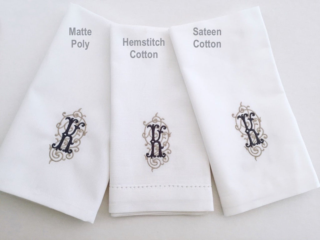 Custom D&F Monogrammed Wedding Napkins, Set of 50 - White Tulip Embroidery