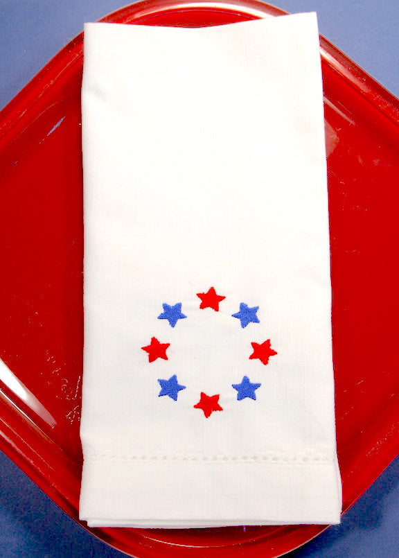Stars 4th of July Embroidered Cloth Napkins - Set of 4 napkins