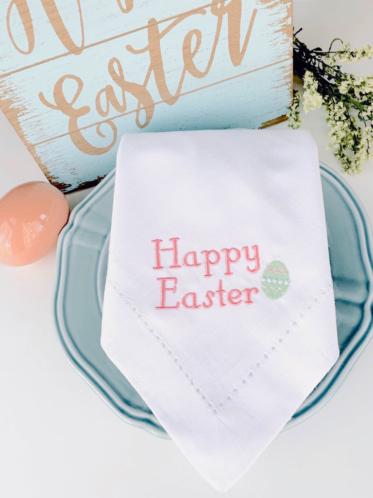 Happy Easter with Easter Egg Cloth Napkins - Set of 4 napkins