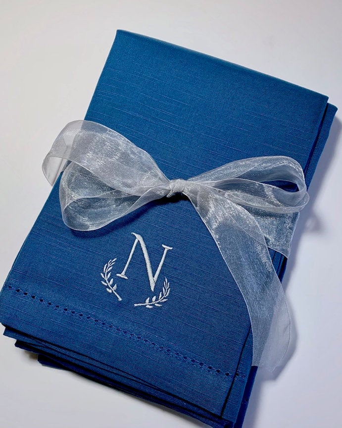 Navy Monogrammed Napkins - Set of 4 dinner blue napkins-White Tulip Embroidery
