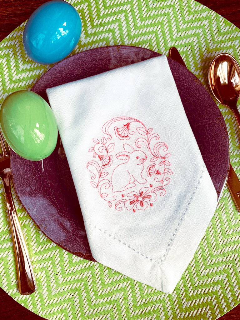 Sweet Easter Bunny Cloth Napkins - Set of 4 napkins