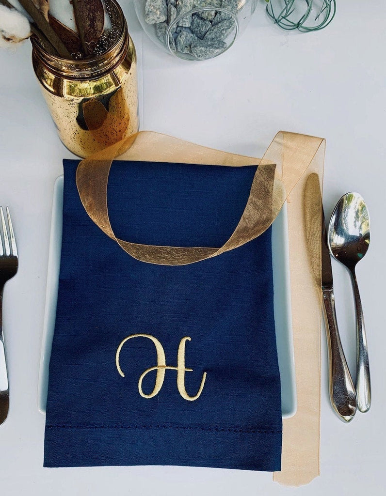 Navy Monogrammed Napkins - Set of 4 dinner blue napkins