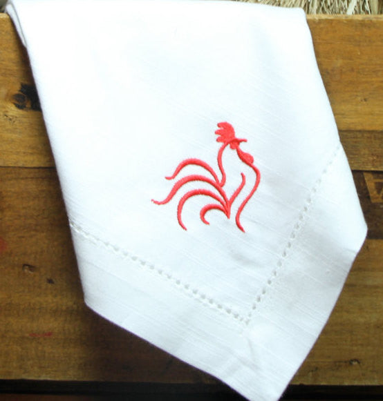 Rooster Embroidered Cloth Dinner Napkins - Set of 4 napkins-White Tulip Embroidery