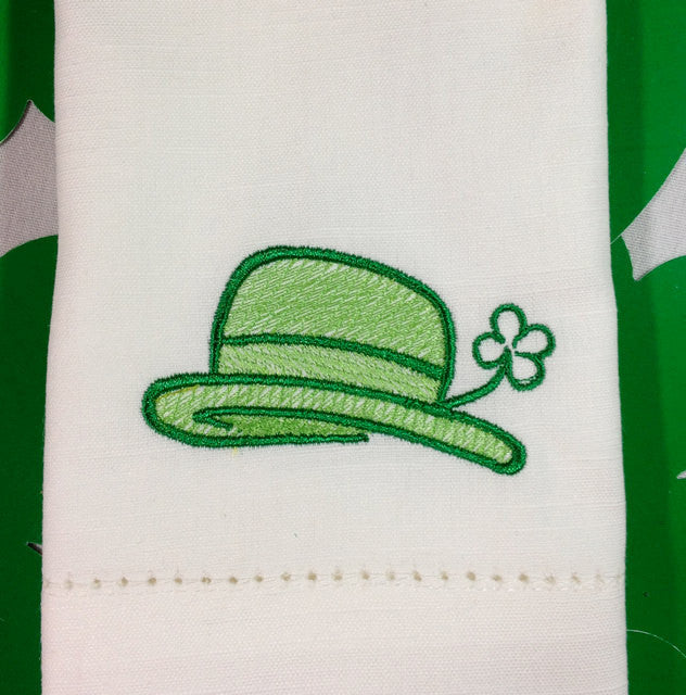 Leprechaun Hat St. Patrick's Day Cloth Napkins - Set of 4 napkins - White Tulip Embroidery