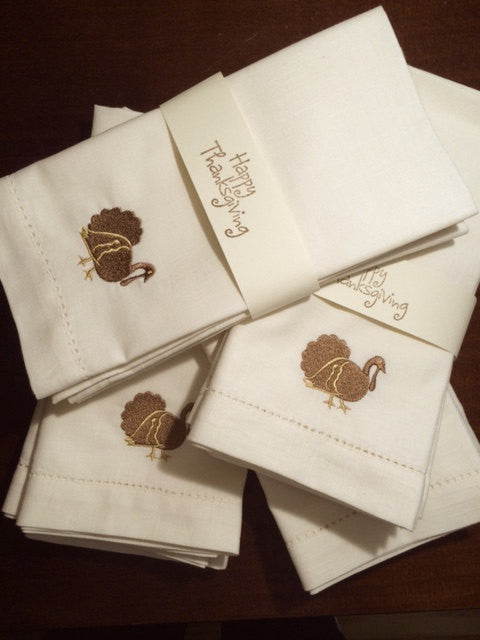 Traditional Thanksgiving Turkey Cloth Dinner Napkins - Set of 4 napkins-White Tulip Embroidery