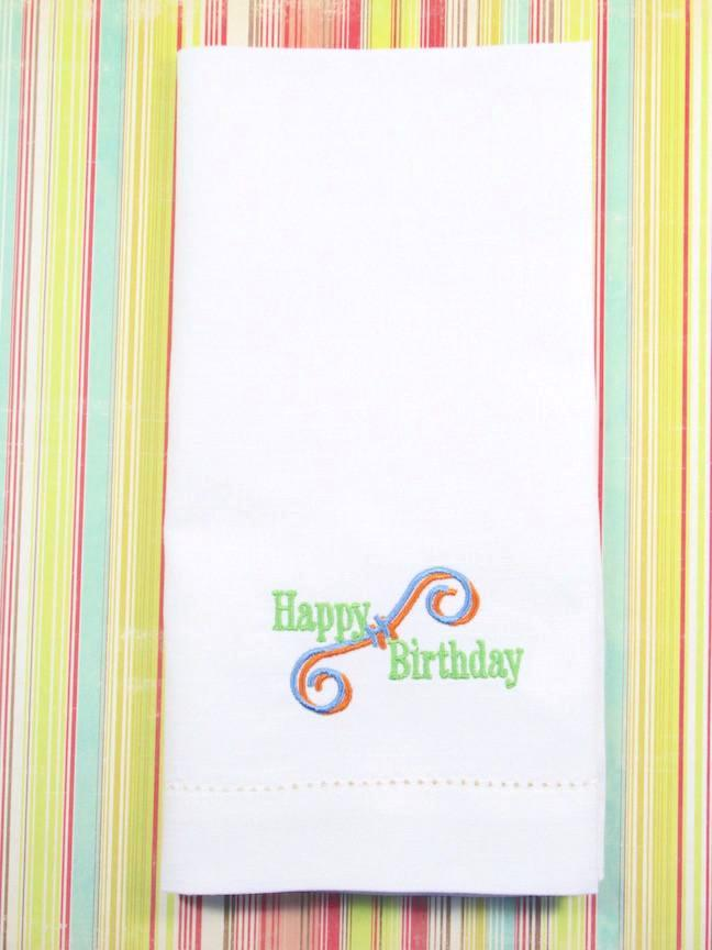 Happy Birthday Embroidered Cloth Napkins - Set of 4 napkins-White Tulip Embroidery