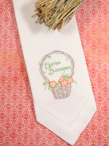 Easter Blessings Basket Embroidered Cloth Napkins - Set of 4 napkins - White Tulip Embroidery