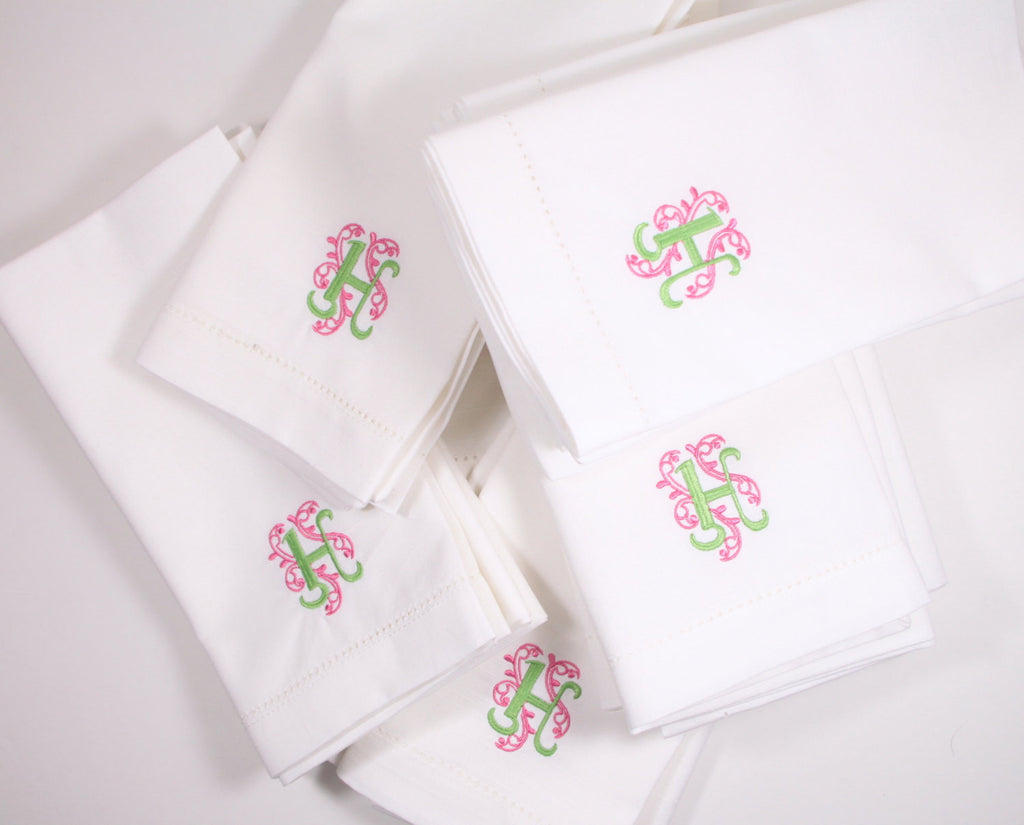 Ornate Monogrammed Embroidered Cloth Napkins - Set of 4 napkins-White Tulip Embroidery