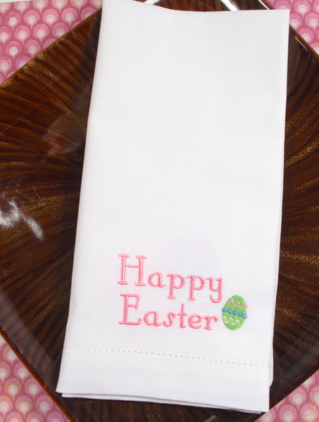 Happy Easter with Easter Egg Cloth Napkins - Set of 4 napkins - White Tulip Embroidery