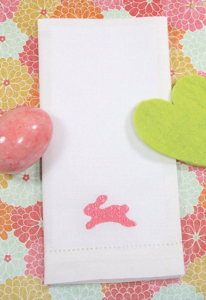 Easter bunny cloth napkins, Easter bunny embroidered cloth napkins, Easter cloth napkins, Easter dinner napkins