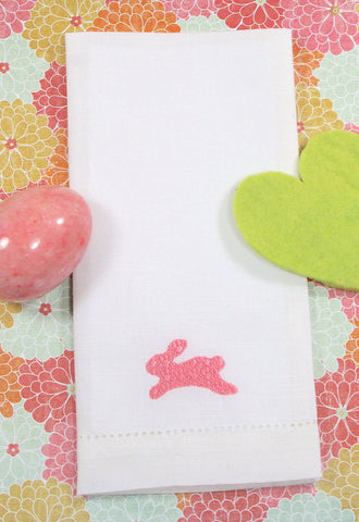 Embossed Easter Bunny Embroidered Cloth Napkins - Set of 4 napkins - White Tulip Embroidery