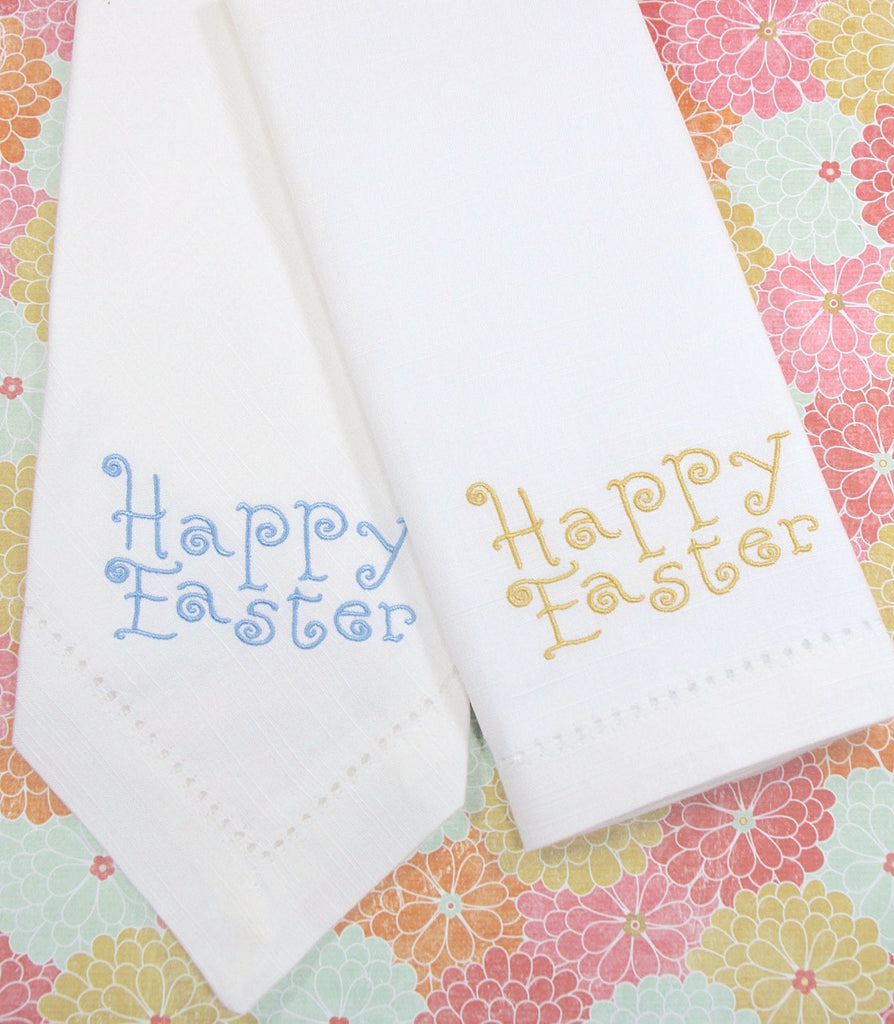 Happy Easter Curly Embroidered Cloth Napkins - Set of 4