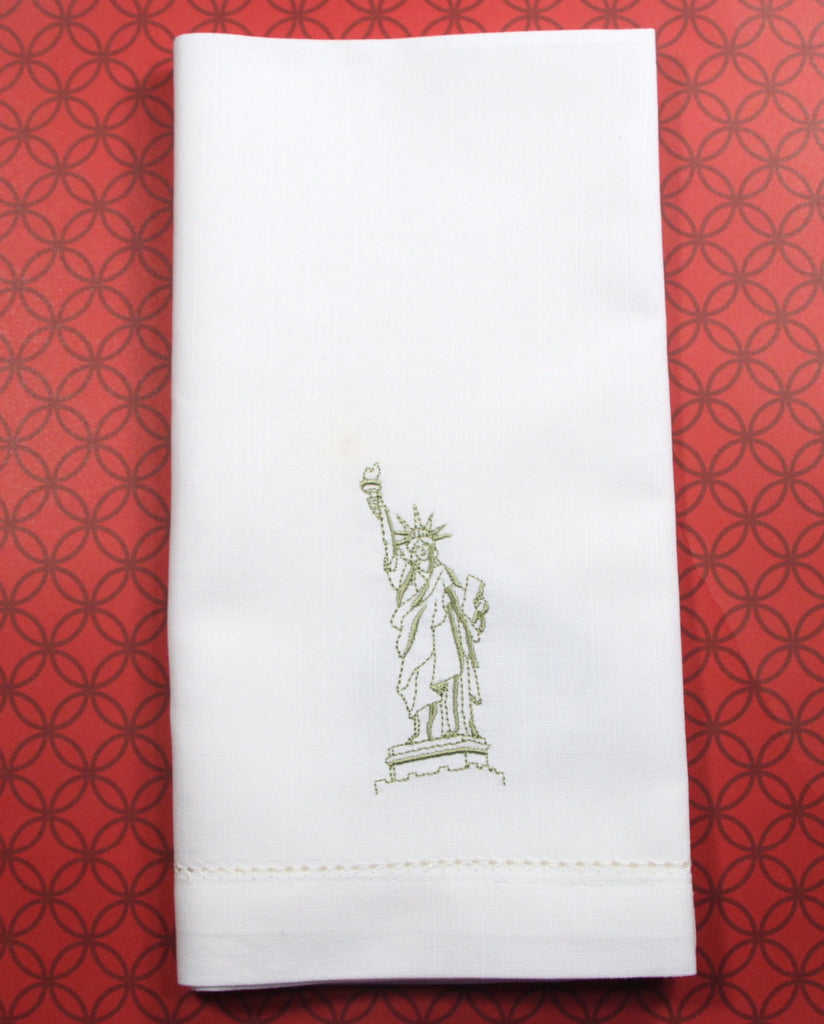 Statue of Liberty Embroidered Cloth Napkins - Set of 4 napkins-White Tulip Embroidery