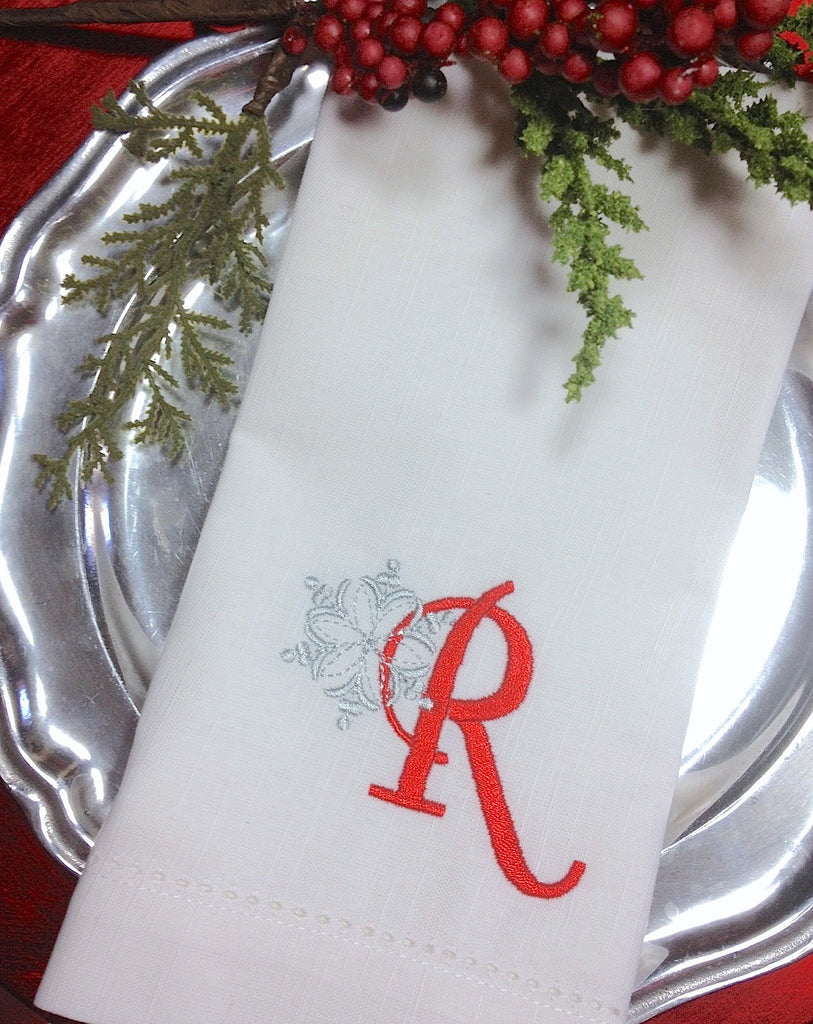 Monogrammed Christmas Snowflake Embroidered Cloth Napkins-Set of 4 napkins - White Tulip Embroidery