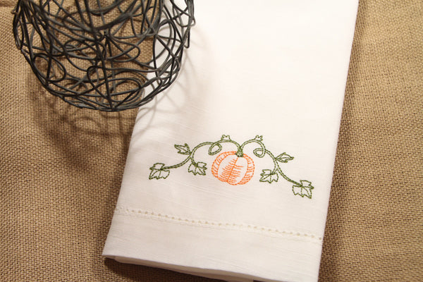 Pumpkin Vine Embroidered Cloth Dinner Napkins - Set of 4 napkins - White Tulip Embroidery