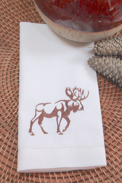 Northwoods Moose Embroidered Cloth Napkins - Set of 4 napkins - White Tulip Embroidery