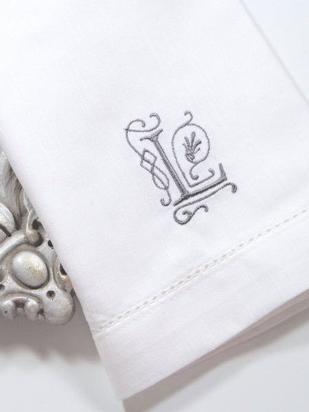 Victoria Monogrammed Embroidered Cloth Dinner Napkins - Set of 4 napkins - White Tulip Embroidery
