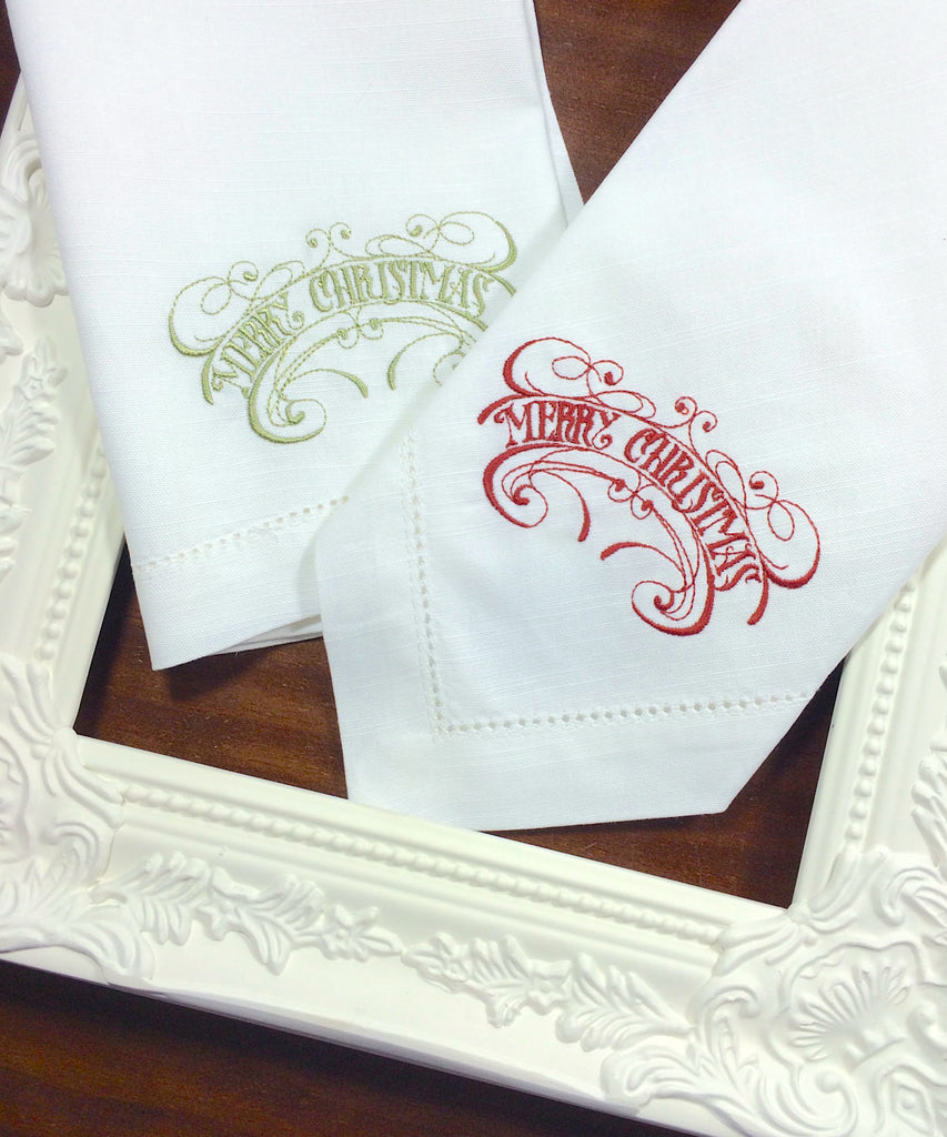 Vintage Merry Christmas Cloth Napkins - Set of 4 Christmas napkins - White Tulip Embroidery