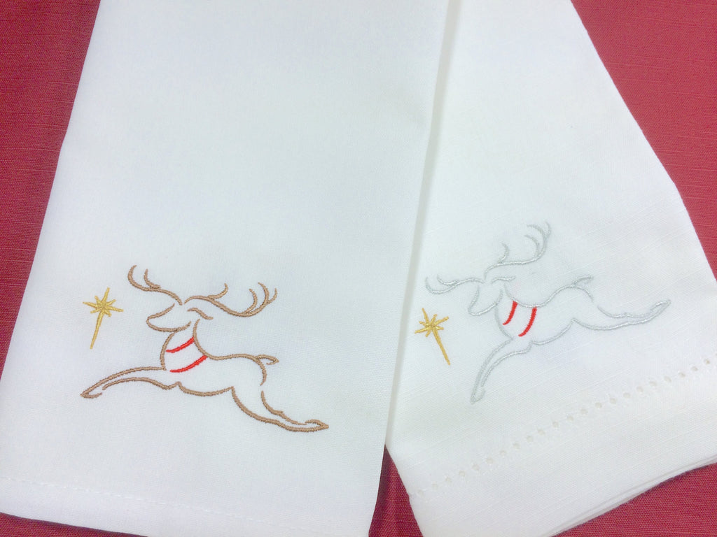 Sparkle Reindeer Cloth Napkins, Christmas napkins - White Tulip Embroidery
