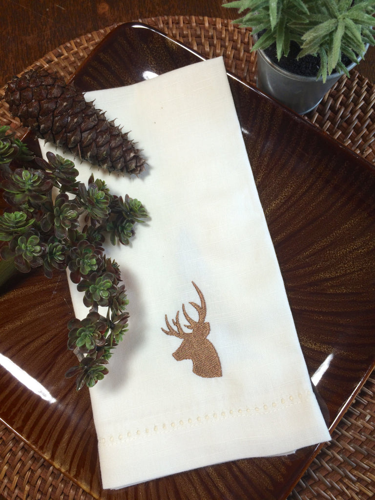 Northwoods Deer Embroidered Cloth Napkins - Set of 4 napkins - White Tulip Embroidery
