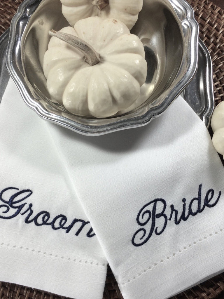 Bride and Groom Wedding Cloth Napkins-Set of 2 napkins-White Tulip Embroidery